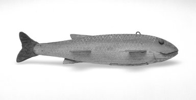 MR. X. <em>Fish Decoy, River Chub</em>, ca. 1880. Painted wood, metals, leather, 7 5/8 x 2 1/4 x 1 5/8 in.  (19.4 x 5.7 x 4.1 cm). Brooklyn Museum, Gift of the North American Fish Decoy Partners, 1998.148.68. Creative Commons-BY (Photo: Brooklyn Museum, 1998.148.68_bw.jpg)