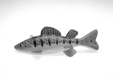 Isaac Goulette. <em>Fish Decoy, Herring</em>, 1940s. Painted wood, metals, 2 7/8 x 8 1/4 x 3 in.  (7.3 x 21.0 x 7.6 cm). Brooklyn Museum, Gift of the North American Fish Decoy Partners, 1998.148.6. Creative Commons-BY (Photo: Brooklyn Museum, 1998.148.6_bw.jpg)