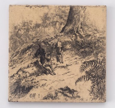 International Tile Company. <em>Tile</em>, 1882-1888. Earthenware, 3/8 x 6 x 6 in. (1 x 15.2 x 15.2 cm). Brooklyn Museum, Gift of Susan I. Padwee in honor of Dr. Barry R. Harwood, 1998.149.2. Creative Commons-BY (Photo: Brooklyn Museum, 1998.149.2.jpg)