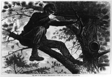 Winslow Homer (American, 1836-1910). <em>The Army of the Potomac--A Sharp-Shooter on Picket Duty</em>, 1862. Wood engraving, Sheet: 9 1/16 x 13 5/8 in. (23 x 34.6 cm). Brooklyn Museum, Gift of Harvey Isbitts, 1998.160.10 (Photo: Brooklyn Museum, 1998.160.10_print_bw.jpg)