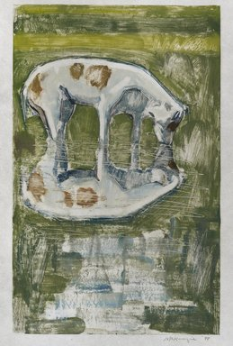 Mary Beth McKenzie (American, born 1946). <em>Catching Frogs</em>, 1998. Monotype on paper, sheet: 20 9/16 x 14 3/4 in.  (52.2 x 37.5 cm);. Brooklyn Museum, Gift of the artist, 1998.161. © artist or artist's estate (Photo: Brooklyn Museum, 1998.161_PS4.jpg)