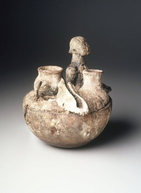 Ewe. <em>Medicine Vessel</em>, first half 20th century. Calabash, wood, terracotta, iron, bone, dry mud, organic material, 7 3/4 x 7 x 8 in.  (19.7 x 17.8 x 20.3 cm). Brooklyn Museum, Gift of Drs. John I. and Nicole Dintenfass, 1998.172.2. Creative Commons-BY (Photo: Brooklyn Museum, 1998.172.2_transpc003.jpg)