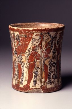 Maya. <em>Cylindrical Vessel</em>, ca. 550-950 C.E. Ceramic, pigment, 6 1/4 x 5 3/8 x 5 3/8 in. (15.9 x 13.7 x 13.7 cm). Brooklyn Museum, Gift in memory of Frederic Zeller, 1998.176.2. Creative Commons-BY (Photo: Brooklyn Museum, 1998.176.2.jpg)