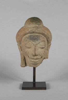 <em>Head of a Buddha</em>, 6th-8th century. Terracotta, 5 x 4 x 2 3/4 in.  (12.7 x 10.2 x 7.0 cm). Brooklyn Museum, Gift of Georgia and Michael de Havenon, 1998.178.1. Creative Commons-BY (Photo: Brooklyn Museum, 1998.178.1_PS5.jpg)