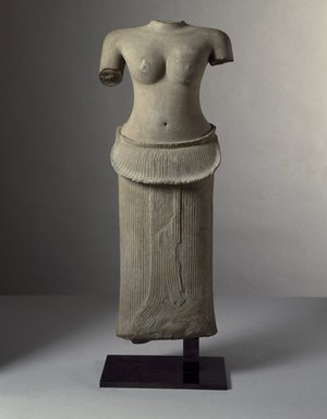 <em>Female Torso</em>, first half of 12th century. Grey sandstone, 35 1/4 x 14 3/4 x 6in. (89.5 x 37.5 x 15.2cm). Brooklyn Museum, Gift of Georgia and Michael de Havenon, 1998.178.3. Creative Commons-BY (Photo: Brooklyn Museum, 1998.178.3_SL3.jpg)