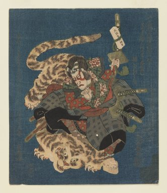 Utayoshi (active 1830-1835). <em>Ichikawa Danjuro VII as Kokusenya Fights Tiger Surimono for Tsurunova Poetry Club of Osaka</em>, ca. 1831. Woodblock print; surimono, 8 9/16 x 7 1/4 in.  (21.7 x 18.4 cm). Brooklyn Museum, Gift of Dr. Eleanor Z. Wallace in memory of her husband, Dr. Stanley L. Wallace, 1998.182.2 (Photo: Brooklyn Museum, 1998.182.2_IMLS_PS3.jpg)