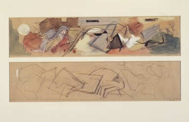 Louis Schanker (American, 1903-1981). <em>Studies for Mural</em>, 1937. Pencil, transparent watercolor, gouache, sight: 10 1/4 x 20 1/2 in.  (26.0 x 52.1 cm). Brooklyn Museum, Gift of Georgia and Michael de Havenon, 1998.189.2. © artist or artist's estate (Photo: Brooklyn Museum, 1998.189.2_transpc002.jpg)