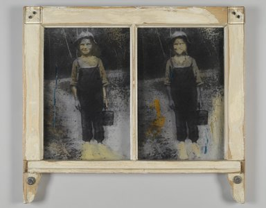 Mildred Howard (American, born 1945). <em>Blueberries at Russell's Mill</em>, 1993. Photoemulsion on glass, wooden frame, 21 1/2 x 23 3/4 in.  (54.6 x 60.3 cm). Brooklyn Museum, Gift of Margaret Cammer, 1998.190. © artist or artist's estate (Photo: Brooklyn Museum, 1998.190_PS2.jpg)