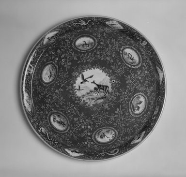 Karl L. H. Mueller (American, born Germany, 1820-1887). <em>Tray</em>, ca. 1867. Porcelain, 1 1/4 x 16 1/4 x 16 1/4 in. (3.2 x 41.3 x 41.3 cm). Brooklyn Museum, Marie Bernice Bitzer Fund, 1998.21.1. Creative Commons-BY (Photo: Brooklyn Museum, 1998.21.1_bw.jpg)
