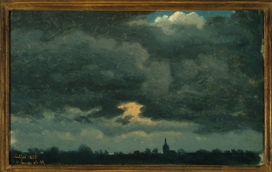 Jean-Michel Cels (Belgian, 1819-1894). <em>Stormy Sky over Landscape with Distant Church</em>, July 1838. Oil on bluish-gray laid chain paper, 6 7/8 x 11 3/8 in. (17.5 x 28.9 cm). Brooklyn Museum, Healy Purchase Fund B, 1998.26 (Photo: Brooklyn Museum, 1998.26_framed_SL1.jpg)