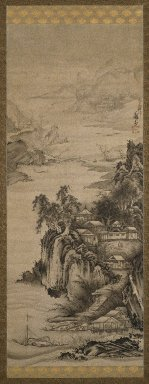 Soga Shohaku (Japanese, 1730-1781). <em>River Landscape</em>, 18th century. Hanging scroll, Ink on paper, 83 5/8 x 26 15/16 in. (212.4 x 68.4 cm). Brooklyn Museum, Gift of the Asian Art Council in memory of Council Member Barbara Young, 1998.39 (Photo: Brooklyn Museum, 1998.39_IMLS_SL2.jpg)