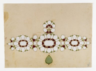 <em>Jewelry Design</em>, 19th century. Opaque watercolors and gold on paper, 6 x 8 1/2 in. (5.3 x 21.6 cm). Brooklyn Museum, Gift of Dr. Bertram H. Schaffner, 1998.42.2 (Photo: Brooklyn Museum, 1998.42.2_IMLS_PS4.jpg)