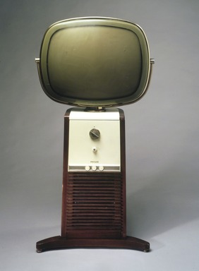 Catherine Winkler (American, 1906-1989). <em>Predicta Line Pedestal, Model 4654 (Television)</em>, Designed 1958. Plastic, brass, wood, Overall: 44 3/4 x 25 x 21 in. (113.7 x 63.5 x 53.3 cm). Brooklyn Museum, H. Randolph Lever Fund, 1998.44. Creative Commons-BY (Photo: Brooklyn Museum, 1998.44_transp3221.jpg)
