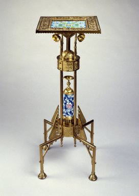 Bradley & Hubbard Manufacturing Company (active 1854-1940). <em>Stand</em>, 1885. Brass, glazed earthenware, 32 13/16 x 13 3/8 x 13 3/8 in. (83.3 x 34.0 x 34.0 cm). Brooklyn Museum, Gift of the American Art Council, 1998.45. Creative Commons-BY (Photo: Brooklyn Museum, 1998.45_SL3.jpg)