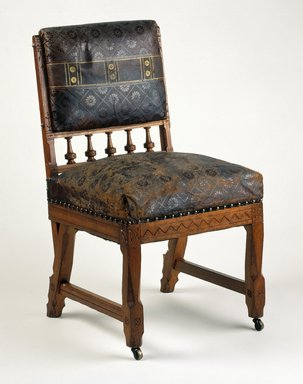 Kimbel and Cabus (1863-1882). <em>Side Chair, Model 304</em>, ca. 1880. Ash, original stained, gilt, and patent leather upholstery, 35 1/2 x 18 1/2 x 21 in. (90.2 x 47.0 x 53.3 cm). Brooklyn Museum, Purchased with funds given by the Wigmore Foundation, 1998.46. Creative Commons-BY (Photo: Brooklyn Museum, 1998.46_IMLS_SL2.jpg)