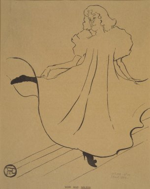 Henri de Toulouse-Lautrec (French, 1864-1901). <em>Miss May Minton, from La Rire</em>, August 2, 1895. Photo-lithograph on newsprint, 9 3/8 x 7 3/4 in. (23.9 x 19.7 cm). Brooklyn Museum, Gift of Eileen and Michael Cohen, 1998.56.10 (Photo: Brooklyn Museum, 1998.56.10.jpg)