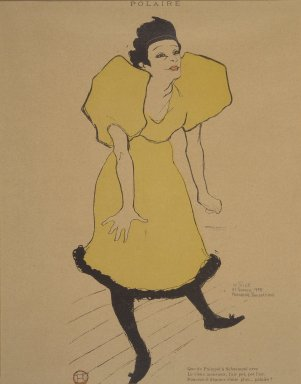 Henri de Toulouse-Lautrec (French, 1864-1901). <em>Polaire, from La Rire</em>, February 23, 1895. Photo-lithograph on newsprint, 10 3/8 x 4 7/8 in. (26.4 x 12.6 cm). Brooklyn Museum, Gift of Eileen and Michael Cohen, 1998.56.11 (Photo: Brooklyn Museum, 1998.56.11.jpg)