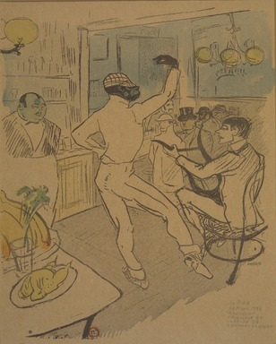 Henri de Toulouse-Lautrec (French, 1864-1901). <em>Chocolat dansant dans un bar, from La Rire</em>, March 28, 1896. Photo-lithograph on newsprint, 9 1/2 x 8 1/8 in. (24.2 x 20.6 cm). Brooklyn Museum, Gift of Eileen and Michael Cohen, 1998.56.12 (Photo: Brooklyn Museum, 1998.56.12.jpg)