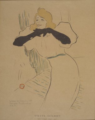 Henri de Toulouse-Lautrec (French, 1864-1901). <em>Yvette Guilbert, from La Rire</em>, December 22, 1894. Photo-lithograph on newsprint, 6 3/8 x 9 1/8 in. (16.2 x 23.2 cm). Brooklyn Museum, Gift of Eileen and Michael Cohen, 1998.56.13 (Photo: Brooklyn Museum, 1998.56.13.jpg)
