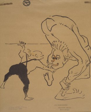 Henri de Toulouse-Lautrec (French, 1864-1901). <em>Aux Folies-Bergere-Brothers Marco, from La Rire</em>, December 21, 1895. Photo-lithograph on newsprint, 8 7/16 x 8 in. (21.4 x 20.3 cm). Brooklyn Museum, Gift of Eileen and Michael Cohen, 1998.56.14 (Photo: Brooklyn Museum, 1998.56.14.jpg)