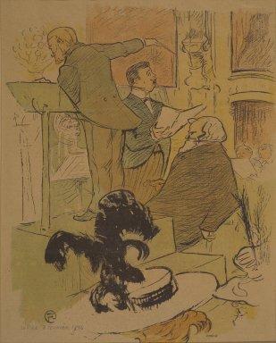 Henri de Toulouse-Lautrec (French, 1864-1901). <em>Ambroise Thomas Assistant a une repetition de Francoise de Rimini, from La Rire</em>, February 8, 1896. Photo-lithograph on newsprint, 10 1/8 x 7 3/4 in. (25.7 x 19.8 cm). Brooklyn Museum, Gift of Eileen and Michael Cohen, 1998.56.15 (Photo: Brooklyn Museum, 1998.56.15.jpg)