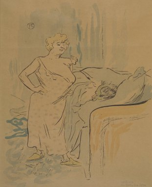 Henri de Toulouse-Lautrec (French, 1864-1901). <em>Qu'est-ce qu'on va dejeuner?, from La Rire</em>, October 24, 1896. Photo-lithograph on newsprint, 9 13/16 x 7 13/16 in. (24.9 x 19.8 cm). Brooklyn Museum, Gift of Eileen and Michael Cohen, 1998.56.16 (Photo: Brooklyn Museum, 1998.56.16.jpg)