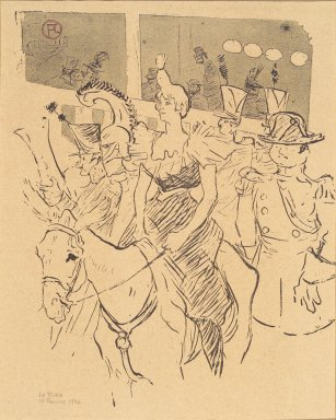 Henri de Toulouse-Lautrec (French, 1864-1901). <em>Entree de Cha-u-Kao, from La Rire</em>, February 15, 1896. Photo-lithograph on newsprint, 9 1/16 x 7 5/8 in. (23.0 x 19.4 cm). Brooklyn Museum, Gift of Eileen and Michael Cohen, 1998.56.5 (Photo: Brooklyn Museum, 1998.56.5.jpg)
