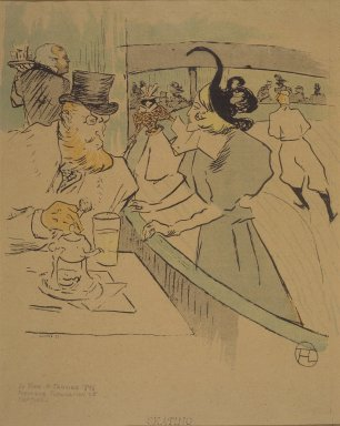Henri de Toulouse-Lautrec (French, 1864-1901). <em>Skating, from La Rire</em>, January 11, 1896. Photo-lithograph on newsprint, 9 x 8 1/4 in. (22.8 x 21.1 cm). Brooklyn Museum, Gift of Eileen and Michael Cohen, 1998.56.7 (Photo: Brooklyn Museum, 1998.56.7.jpg)