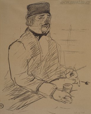Henri de Toulouse-Lautrec (French, 1864-1901). <em>Baron, from La Rire</em>, 1896. Photo-lithograph on newsprint, 9 7/8 x 7 7/8 in. (25.1 x 20.0 cm). Brooklyn Museum, Gift of Eileen and Michael Cohen, 1998.56.8 (Photo: Brooklyn Museum, 1998.56.8.jpg)