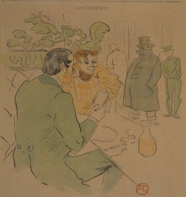Henri de Toulouse-Lautrec (French, 1864-1901). <em>Snobisme, from La Rire</em>, April 24, 1897. Photo-lithograph on newsprint, 7 15/16 x 7 7/8 in. Brooklyn Museum, Gift of Eileen and Michael Cohen, 1998.56.9 (Photo: Brooklyn Museum, 1998.56.9.jpg)