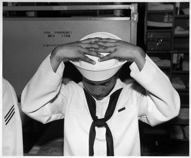 Ken Graves (American, born 1942). <em>Naval Training Center, Great Lakes, Ill.</em>, 1997. Gelatin silver photograph, image: 13 3/4 x 16 1/2 in. (34.9 x 41.9 cm). Brooklyn Museum, Purchased with funds given by the Horace W. Goldsmith Foundation and Karen B. Cohen, 1998.67.2. © artist or artist's estate (Photo: Brooklyn Museum, 1998.67.2_bw.jpg)
