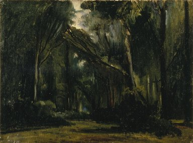 Paul Huet (French, 1803-1869). <em>Landscape in the Forest at Compiègne</em>, 1826-1828. Oil on canvas, 13 x 17 1/8 in. (33 x 43.5 cm). Brooklyn Museum, Anonymous gift in honor of Sarah Faunce, Curator of Painting and Sculpture, 1969-98, 1998.78 (Photo: Brooklyn Museum, 1998.78_SL1.jpg)