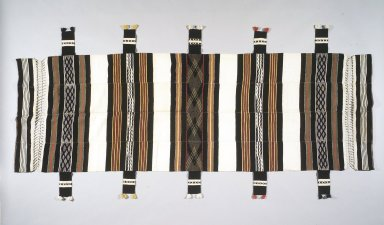 Mende. <em>Hammock with Openwork</em>, early 20th century. Cotton, dye, Length: 94 in. (238.8 cm). Brooklyn Museum, Purchased with funds given by Dr. Ernst Anspach, Wendy F. Victor, and Arts of Africa, the Pacific and the Americas Acquisition Funds, 1998.79. Creative Commons-BY (Photo: Brooklyn Museum, 1998.79_transpc003.jpg)