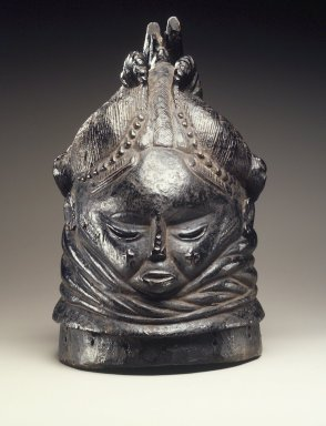 Mende. <em>Sande society mask (sowei)</em>, 19th century. Wood, pigment, 15 x 10 1/4 x 9 in. (38.1 x 26.0 x 22.9 cm). Brooklyn Museum, Gift of Blake Robinson, 1998.80.3. Creative Commons-BY (Photo: Brooklyn Museum, 1998.80.3_transpc003.jpg)