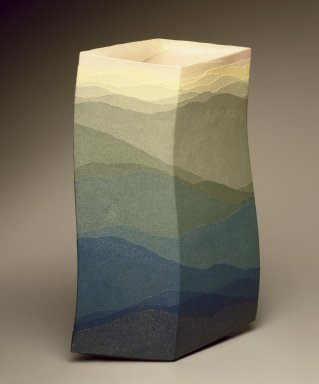 Miyashita Zenji (Japanese, born 1939). <em>Flower Vase (Saidei Kaki)</em>, 1998. Colored stoneware with clear glaze, 15 1/4 x 10 x 5 in. (39.0 x 25.5 x 12.0 cm). Brooklyn Museum, Gift of friends of The Roebling Society in memory of Barbara Young, 1998.81. Creative Commons-BY (Photo: Brooklyn Museum, 1998.81_SL3.jpg)