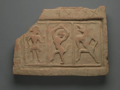<em>Tile Relief with Three Figures</em>, 5th century. Terracotta, 10 3/4 x 15 x 1 3/4in. (27.3 x 38.1 x 4.4cm). Brooklyn Museum, Gift of Dr. Bertram H. Schaffner, 1998.86.3. Creative Commons-BY (Photo: Brooklyn Museum, 1998.86.3_PS2.jpg)