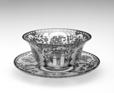 <em>Finger Bowl and Underplate</em>, ca. 19th century. Glass, a. Finger Bowl: 2 x 4 5/8 x 4 /58 in.  (5.1 x 11.7 x 11.7 cm). Brooklyn Museum, Gift of Hattie Forgang, 1998.92.4a-b. Creative Commons-BY (Photo: Brooklyn Museum, 1998.92.4a-b_view1_bw.jpg)