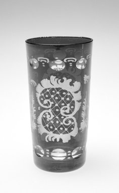 <em>Tumbler</em>, ca. 19th century. Glass, 5 3/8 x 3 x 3 in. (13.7 x 7.6 x 7.6 cm). Brooklyn Museum, Gift of Hattie Forgang, 1998.92.5. Creative Commons-BY (Photo: Brooklyn Museum, 1998.92.5_bw.jpg)