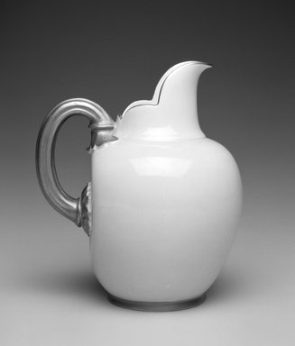 Worcester Royal Porcelain Co. (founded 1751). <em>Pitcher</em>, ca. 1885. Porcelain, 6 x 5 1/4 x 4 1/4 in.  (15.2 x 13.3 x 10.8 cm). Brooklyn Museum, Gift of Allen and Sydell Glass in memory of Edward Komorner, 1998.93.11. Creative Commons-BY (Photo: Brooklyn Museum, 1998.93.11_bw.jpg)