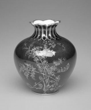Royal Crown Derby Porcelain Co. (founded 1750). <em>Vase</em>, ca. 1895. Porcelain, 4 x 3 1/2 x 3 1/2 in.  (10.2 x 8.9 x 8.9 cm). Brooklyn Museum, Gift of Allen and Sydell Glass in memory of Samuel and Minnie Jacobs, 1998.93.13. Creative Commons-BY (Photo: Brooklyn Museum, 1998.93.13_bw.jpg)