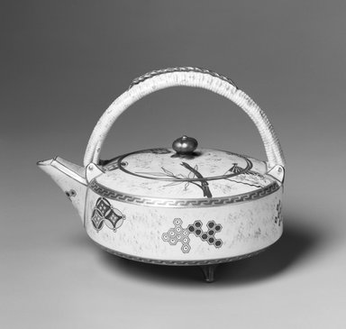 Worcester Royal Porcelain Co. (founded 1751). <em>Teapot and Lid</em>, ca. 1879. Porcelain, 6 1/4 x 8 x 5 7/8 in.  (15.9 x 20.3 x 15.0 cm). Brooklyn Museum, Gift of Allen and Sydell Glass in memory of Irving Rubenstein and Blanche Roven, 1998.93.1a-b. Creative Commons-BY (Photo: Brooklyn Museum, 1998.93.1a-b_bw.jpg)