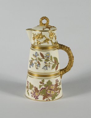 Worcester Royal Porcelain Co. (founded 1751). <em>Chocolate Pot and Lid</em>, ca. 1884-1889. Porcelain, 10 x 6 1/8 x 4 3/4 in.  (25.4 x 15.6 x 12.1 cm). Brooklyn Museum, Gift of Allen and Sydell Glass in memory of Irving Rubenstein and Blanche Roven, 1998.93.2a-b. Creative Commons-BY (Photo: Brooklyn Museum, 1998.93.2a-b_PS5.jpg)