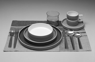 Gerald Gulotta (American, born 1921). <em>Dinner Plate, Chromatics Line</em>, Designed 1970; Made 1971-1973. Glazed earthenware, 7/8 x 10 3/8 in.  (2.2 x 26.4 cm). Brooklyn Museum, Gift of the artist, 1998.94.50. Creative Commons-BY (Photo: , 1998.94.27-.31_1998.94.41_1998.94.46_1998.94.50_1998.94.54_1998.94.57_bw.jpg)