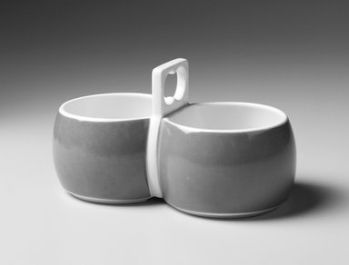 Gerald Gulotta (American, born 1921). <em>Sauceboat, Chromatics Line</em>, Designed 1970; Made 1971-1973. Cast and glazed porcelain, 3 3/4 x 6 3/4 x 3 3/4 in.  (9.5 x 17.1 x 9.5 cm). Brooklyn Museum, Gift of the artist, 1998.94.34. Creative Commons-BY (Photo: Brooklyn Museum, 1998.94.34_bw.jpg)