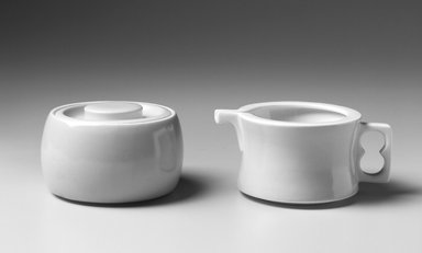 Gerald Gulotta (American, born 1921). <em>Sugar Bowl and Lid, Chromatics Line</em>, Designed 1970; Made 1971-1973. Glazed earthenware, a. Bowl: 2 3/8 x 3 3/4 in. Brooklyn Museum, Gift of the artist, 1998.94.36a-b. Creative Commons-BY (Photo: , 1998.94.35_1998.94.36a-b_bw.jpg)
