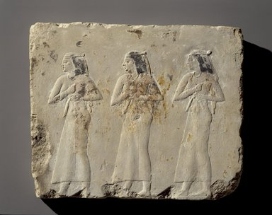 <em>Relief of Mourning Women</em>, 381-343 B.C.E. Limestone, pigment, 11 7/16 x 13 3/8 x 1 3/8 in. (29 x 34 x 3.5 cm). Brooklyn Museum, Charles Edwin Wilbour Fund, 1998.98. Creative Commons-BY (Photo: Brooklyn Museum, 1998.98_overall_SL3.jpg)