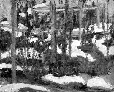 Dorothea A. Dreier (American, 1870-1923). <em>Winter Wood Scene</em>, before 1923. Oil on paperboard mounted to fiberboard, 7 7/8 x 9 3/4 in. (20 x 24.8 cm). Brooklyn Museum, Gift of Mr. and Mrs. Martin Diamond, 1998.99 (Photo: Brooklyn Museum, 1998.99_bw.jpg)