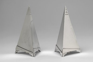 Elsa Tennhardt (American, born Germany, 1899-1980). <em>Pepper Shaker</em>, Patented 1928. Silverplated metal, 4 5/8 x 2 5/8 x 2 3/8 in. (11.7 x 6.7 x 6 cm). Brooklyn Museum, H. Randolph Lever Fund, 1999.102.2. Creative Commons-BY (Photo: , 1999.102.1_1999.102.2.jpg)