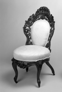 John Henry Belter (American, born Germany, 1804-1863). <em>Chair</em>, ca. 1840-1850. Laminated wood with upholstered seats Brooklyn Museum, Bequest of Miriam Godofsky, 1999.105.3. Creative Commons-BY (Photo: Brooklyn Museum, 1999.105.3_bw_IMLS.jpg)