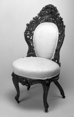 John Henry Belter (American, born Germany, 1804-1863). <em>Chair</em>, ca. 1850. Laminated wood with upholstered seats Brooklyn Museum, Bequest of Miriam Godofsky, 1999.105.4. Creative Commons-BY (Photo: Brooklyn Museum, 1999.105.4_bw_IMLS.jpg)